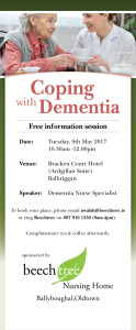 Coping With Dementia talk 9th May
